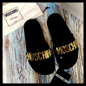 BNIB [moschino] slide with gold lettering